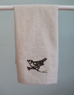 Osnaburg tea towel with wren bird by ellenhowardhandmade on Etsy, $12.00