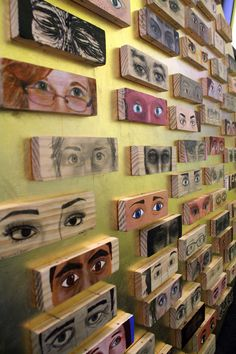 https://flic.kr/s/aHsjzhVY1K | the eye project | A North Park University community art project. Participants made images of fellow North Park students (or in a couple cases, faculty). 67 blocks total, mounted on a gold-leafed tondo.