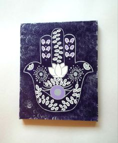 Hamsa hand -Purple and Grey- fashionable acrylic canvas painting for trendy girls room or home decor on Etsy, $28.00