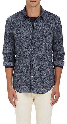 John Varvatos Men's Rock-Print Plain-Weave Sport Shirt