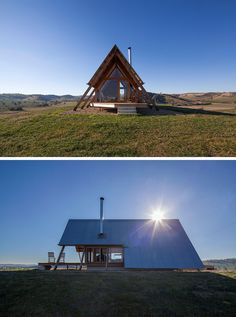 Anthony Hunt Design together with Luke Stanley Architects, have designed JR's Hut at Kimo Estate, a small cabin in rural Australia, that was inspired by a classic 'A' frame tent. A Frame Tent, A Frame Cabin, A Frame House, Wood Burner Fireplace, Tiny House, Louvre Windows, Wooden Hut, Summer Cabins, Best Tents For Camping
