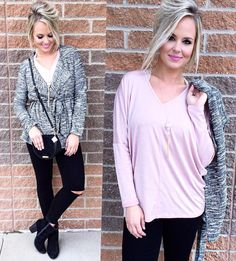 The perfect combo for this KC weather! Keep the jacket on in the mornings & nights then slip it off to show your top in the warmer afternoons! Also Style Tip - Pair your girly blush tones back to black & grey for a more universal color pallet. #shopamelias #ootd #fashion #style #boutique #retail #shopping #whatiwore #blush #color #chic #trendy #kansascity #overlandpark