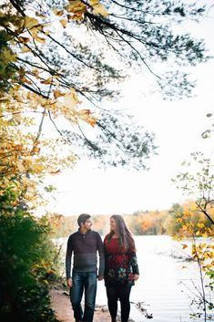 Gatineau Park is the gift that keeps on giving, a true favourite for the newly engaged. Autumn Engagement Photos at Pink Lake, QC Fall Engagement, Engagement Session, Engagement Photos, Ottawa Valley, Pink Lake, Autumn, Park, Couple Photos, Gift