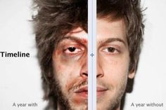 In a creative social media campaign, media agency McCann Digital Israel has used the new Facebook Timeline design to advertise for the Israel Anti-Drug Authority. Utilizing the split-screen layout, they created a profile for a fictional man called Adam Barak and compared pictures of him side-by-side over the course of a year.