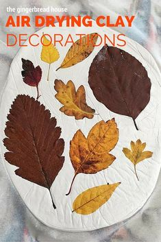Leaf-printed air drying clay decorations – Hobbies paining body for kids and adult Clay Projects For Kids, Clay Crafts For Kids, Easy Fall Crafts, Crafts For Seniors, Diy Garden Projects, Toddler Crafts, Diy For Kids, Air Dry Clay Ideas For Kids, Art Projects