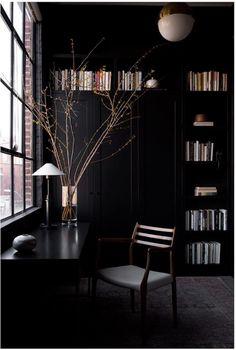 In Good Taste: Christina Cole & Co - Design Chic % Home Library Design, Home Office Design, House Design, Design Desk, Design Table, Furniture Design, Dark Interiors, Office Interiors, Christina Cole