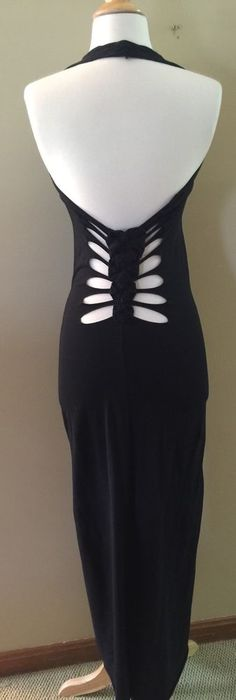 Sexy Jean Paul Gaultier Soleil Black Halter Style Maxi Dress SZ XS Back Detail #JeanPaulGaultier #Maxi #Casual