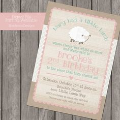Mary Had a little Lamb Girl's birthday party Invitation by BlueFenceDesigns.  $11.