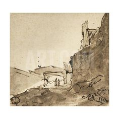 Outskirts of a Town with Walls and a Doorway, C.1627-28 Giclee Print by Rembrandt van Rijn at Art.com