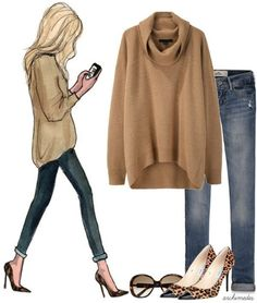 Camel sweater with leopard shoes
