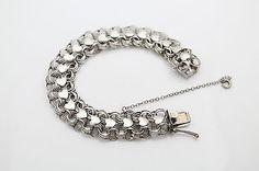 Vintage Sterling Silver Wide Heart Links Starter Charm Bracelet 7.5