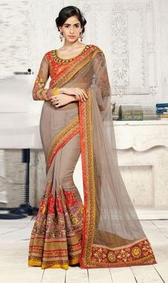 Chikoo Net & Orange Georgette Indian Party Wear Sarees ,Indian Dresses - 1