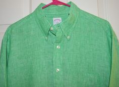 Brooks Brothers Men's Green Linen Long Sleeve Shirt (Large) #BrooksBrothers #ButtonFront