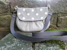 Crossbody bag hip bag clutch yellow and grey by BirdOnAWireBags, $25.00