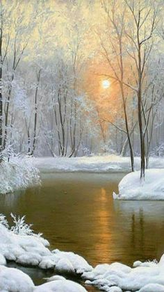 New Painting Landscape Snow Winter Scenes Ideas All Nature, Amazing Nature, Beautiful World, Beautiful Places, Beautiful Beautiful, Snow Scenes, Winter Pictures, Winter Beauty, Landscape Paintings
