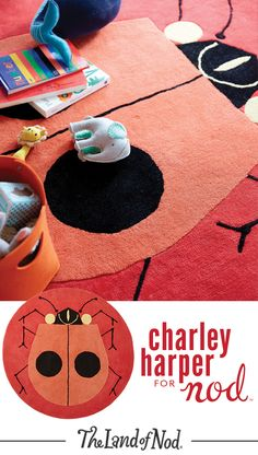 We're going wild for ladybug rugs thanks to our exclusive Charley Harper for Nod Collection. Create a focal point in a kids bedroom, nursery, playroom or even the living room with classic artwork from the iconic wildlife artist. This rug features hand-tufted details and eye-catching bright colors.
