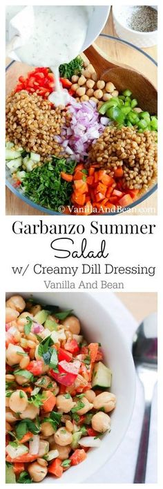 Garbanzo Beans Salad with Creamy Dill Dressing. This is a salad I never tire of. It holds up well in the fridge and is a hearty make ahead salad for weekday lunches. Garbanzo (Chickpea) Summer Salad with Creamy Dill Dressing Whole Food Recipes, Cooking Recipes, Clean Eating, Healthy Eating, Healthy Fit, Dill Dressing, Tahini Dressing, Vegetarian Recipes, Healthy Recipes