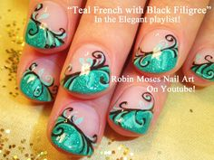 Glitter Tips Nail Art with Filigree
