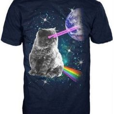 Laser Eyes Space Cat Shirt! Bestel nu op www.bubblewrap.nl!