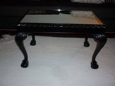 Charmant Vintage Ball U0026 Claw Foot Coffee Table Painted Gloss Black U0026 Added A Mirror  To The