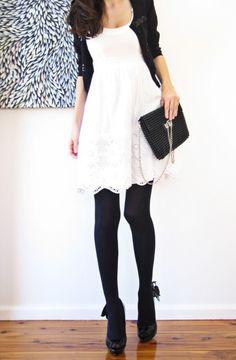 White dress, black accessories.