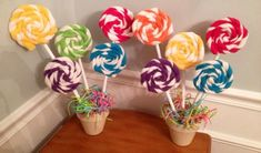 Items similar to Lollypop Plants for Candy themed parties (Sweet Shoppes, Candy Stores, Candyland, Hansel and Gretel or Candy Buffets) on Etsy Gingerbread Decorations, Candy Decorations, Birthday Party Decorations, 1st Birthday Parties, Party Themes, Party Ideas, Candy Themed Party, Candy Land Theme, Themed Parties