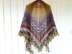 Knitted Shawl wool scarf triangular shawl rustic by LidiaAndVary