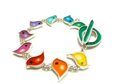 Colorful bird sterling silver bracelet,resin inlay,hand painted,mixed media,hand made,FREE shipping
