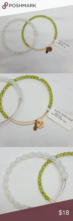 Alex and Ani Bangles Alex & Ani Bangles 1 Rock Candy Bangle - Moss  1 Bangle with iridescent beads *doesn't have Alex & Ani charms* has scuffs on expandable band Used condition but looks great Adjustable Alex & Ani Jewelry Bracelets