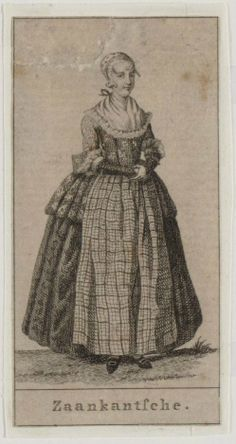 1791. Zaanstreek. Jonge Zaanse vrouw in klederdracht met kap. Artist: J. Allart. Zaanstreek, NoordHolland, Netherlands. Women -- Clothing & dress -- 1700-1799 -- Netherlands. 18th century Dutch costume.