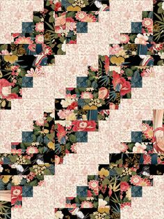 This gorgeous Asian floral easy to sew quilt kit has geisha's, floral, bamboo, clusters and toiles. Beautiful color tones from cream, peach, pink, red, green, blue, black and gold metallic highlights.