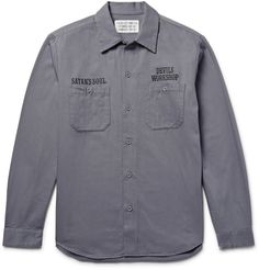 <a href='http://www.mrporter.com/mens/Designers/Wacko_Maria'>Wacko Maria</a>'s collection is inspired by art, music and mid-century cool, and this cotton-twill overshirt certainly fits the bill. It's the perfect weight to wear over a light tee on temperate days and will look especially sharp teamed with black jeans.