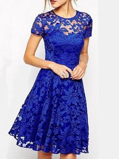 Crew Neck Dress A-line Party Short Sleeve Elegant Lace Paneled Dress