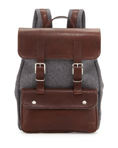 Brunello Cucinelli Leather & Flannel Flap Backpack, Charcoal