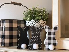 Your place to buy and sell all things handmade Easter bunny farmhouse decor Easter decor buffalo check Diy Spring, Spring Crafts, Holiday Crafts, Easter Projects, Easter Crafts For Kids, Easter Ideas, Spring Projects, Easter Gift Baskets, Basket Gift