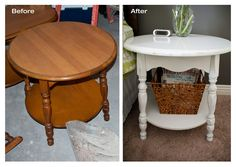 Interior Fun: DIY - Refinished Round Side Table...   Just some light sanding and one can of spray paint!