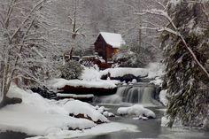 mill, stream, winter, snow