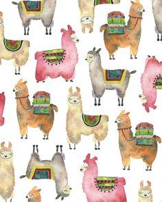 It's a never ending kind of Llama love. #instaart #illustrator #llama #watercolor #artoftheday