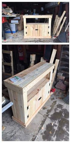 Pallet Projects and Ideas: Pallet TV Stand / Cabinet 1001 Pallets Pallet Crafts, Diy Pallet Projects, Pallet Ideas, Wood Projects, Woodworking Projects, Teds Woodworking, Woodworking Classes, Woodworking Forum, Woodworking Basics