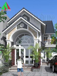 Mặt tiền nhà cấp 4 có gác lửng mái thái đẹp House Front Design, Modern House Design, Sims House Plans, Thai House, Kerala Houses, Villa Design, Dream Home Design, Facade House, Florida Home