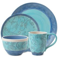 Fitz and Floyd Paisley Park 4 Piece Dinnerware Set