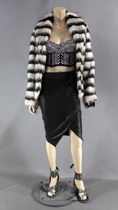 This isRoz Walters's (Simona Brown) Screen Worn Wardrobe Set. Item: Hook-Front, Coat, Bustier, Knee-Length Skirt w/ Zipper, Earrings, Glove & High Heel Sandals. Episode 104. Color: Grey. Material: Appears Metal. | eBay!