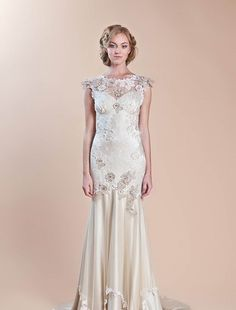 Claire Pettibone - Sweetheart Sheath Gown in Tulle