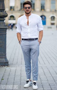 New Fashion Week Street Style India Galleries Ideas Mens Casual Suits, Stylish Mens Outfits, Mens Fashion Suits, Trendy Fashion, Formal Dresses For Men, Formal Men Outfit, Formal Shirts For Men, White Shirt Outfits, Man Dressing Style