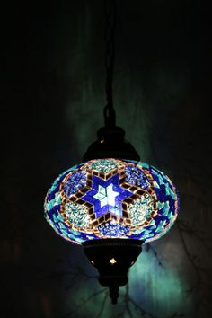 Multicolour Turkish Moroccan Style Mosaic Hanging Lamp Light Large Hand Made  #Tiffany