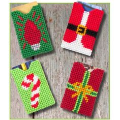 Create small, great-looking packages for your gift cards. These holders stitch up quick on plastic canvas. Four designs let each family member have a unique cover. Plastic Canvas Ornaments, Plastic Canvas Christmas, Plastic Canvas Crafts, Plastic Canvas Patterns, Christmas Gift Card Holders, Christmas Ornaments, Diy Christmas, Plastic Mesh, Cheer Gifts