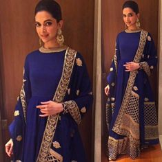 Sabyasachi anarkali in deep blue and gold - perfect for a bride's Reception! On Deepika Padukone
