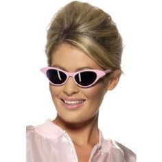 Flyaway Style Rock and Roll Sunglasses, Pink - Pink Ladies Style 99022: Cosmetics4uOnline.co.uk: Fancy Dress > Adult Themes > Grease Fancy Dress Costumes, Wigs & Accessories