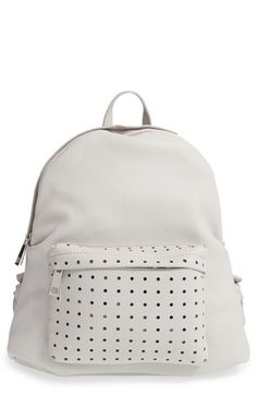 Street Level Perforated Faux Leather Backpack