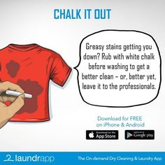 Grease stains on your clothes? Rub them with chalk to get a better clean #LaundryDay #Lifehack